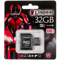 Карта памяти Kingston MicroSDHC 32GB Class10 UHS-I 80MB/S + адаптер