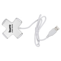 Разветвитель USB 2.0 Buro BU-HUB4-0.5-U2.0 Cross белый