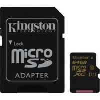 Карта памяти Kingston 64GB microSDXC Class 10 UHS-I U1 +SD адаптер (SDCA10/64GB)