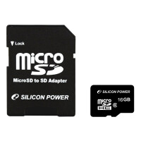Silicon Power microSDHC 16Gb Class 4 + adapter (SP016GBSTH004V10-SP)