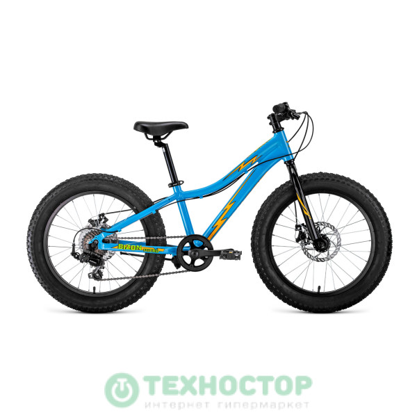 Велосипед Forward Bizon Micro FatBike AL 20 (2019-2020) 11 голубой/оранжевый (RBKW0W607003)